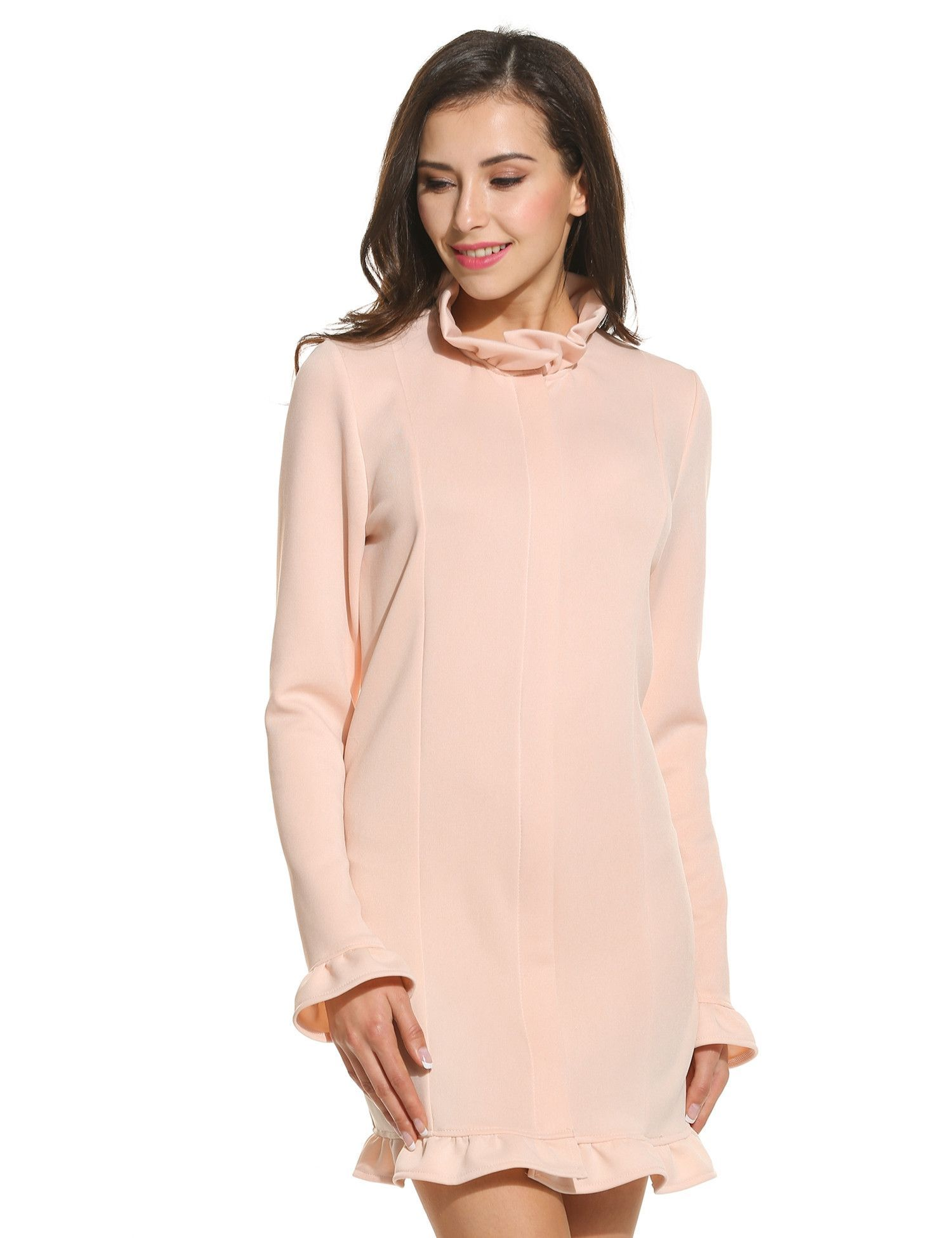 Beige women casual ruffle stand neck long sleeve solid zipper coat