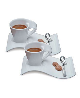 Villeroy Boch New Wave Caffe Set Of 2 Espresso Cups And Saucers Reviews Dinnerware Dining Macy S Espresso Cups Tea Cups Coffee Set