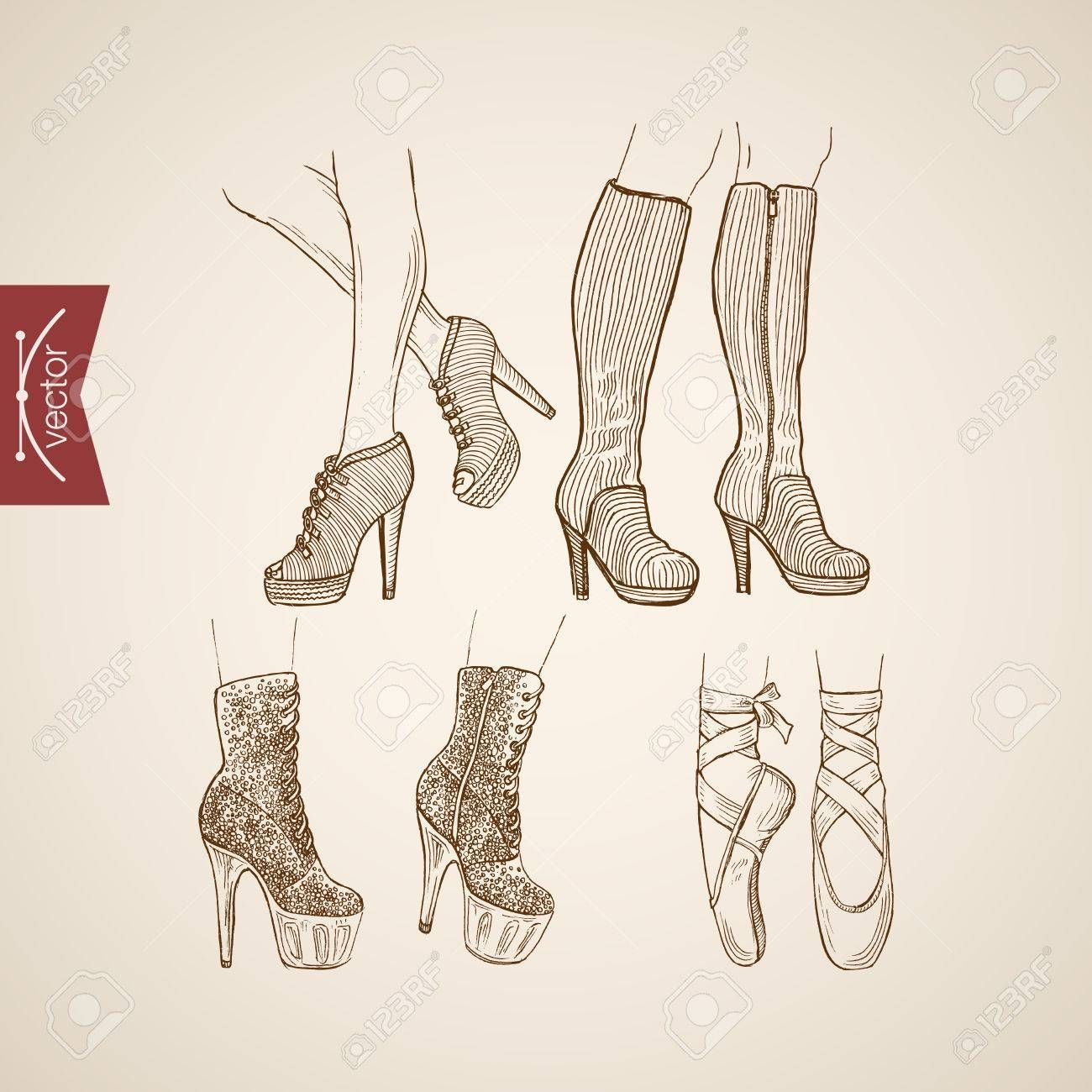 Engraving Vintage Hand Drawn High Heeled Boots And Ballet Shoes Doodle Collage Pencil Sketch Retro Fashion Illus In 2020 How To Draw Hands Drawing High Heels Sketches