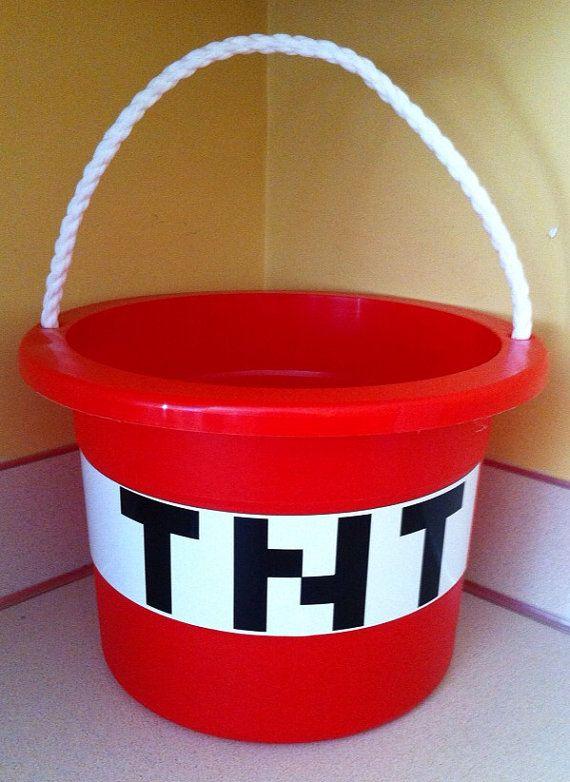 Minecraft TNT bucket / easter basket by CarterMasons on Etsy, $13.00