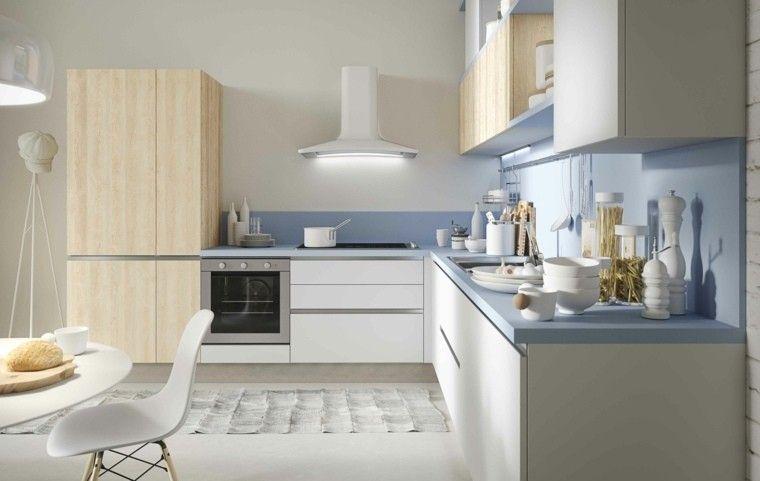 Decoración de interiores cocinas modernas con estilo | Pared azul ...