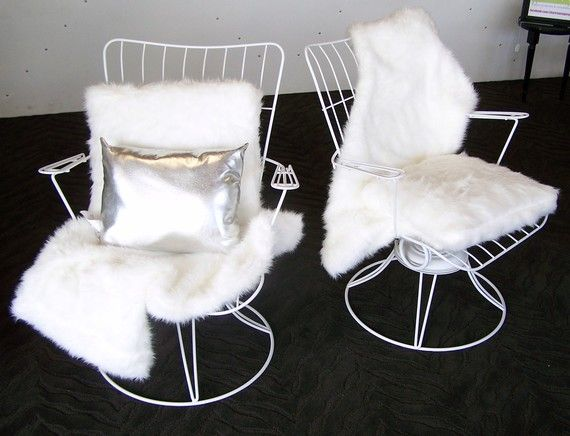 Bucket Chair And Faux Fur Throw