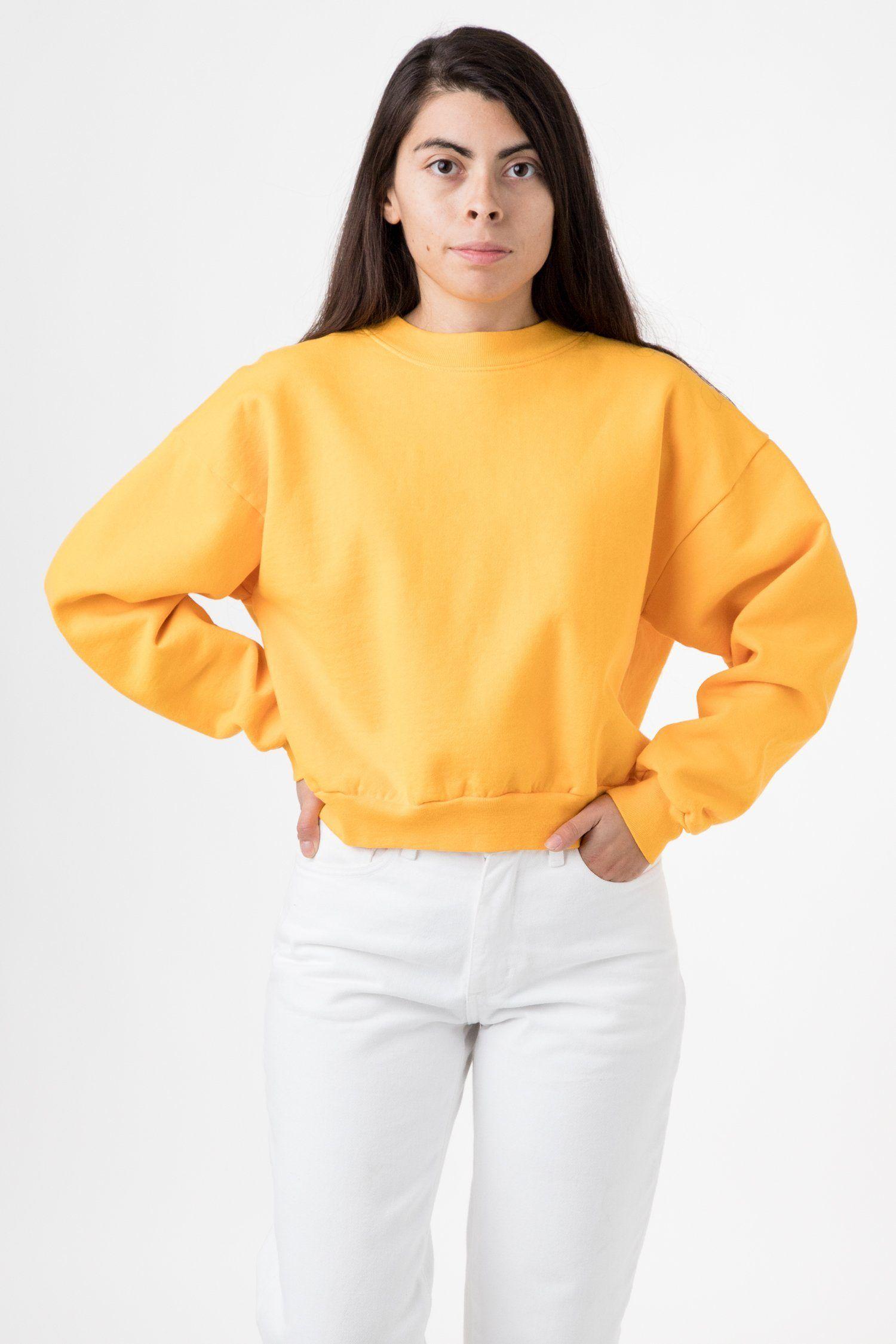 Hf06gd 14 Oz Garment Dye Heavy Fleece Cropped Mock Neck Pullover Garment Dye Garment High Waisted Pants