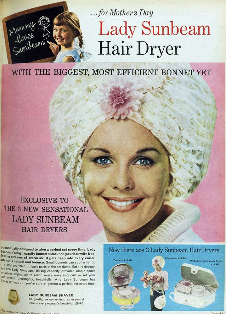Lady Sunbeam 1960s Bonnet Hair Dryer