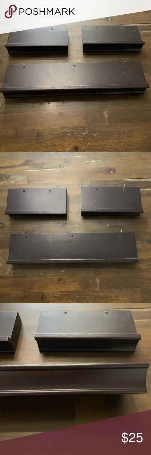 Floating shelves in espresso- set of 3 Set of 3 espresso floating shelves. These are a dark chocolate or espresso brown color. Almost black. Hardware included. Minor scratches on the shelf part where you set things on top. Beautiful set. Measurements in pics. Similar sets sell at Home Depot and Kohl's for $45-$60 Wall Art Display Shelves #espressoathome