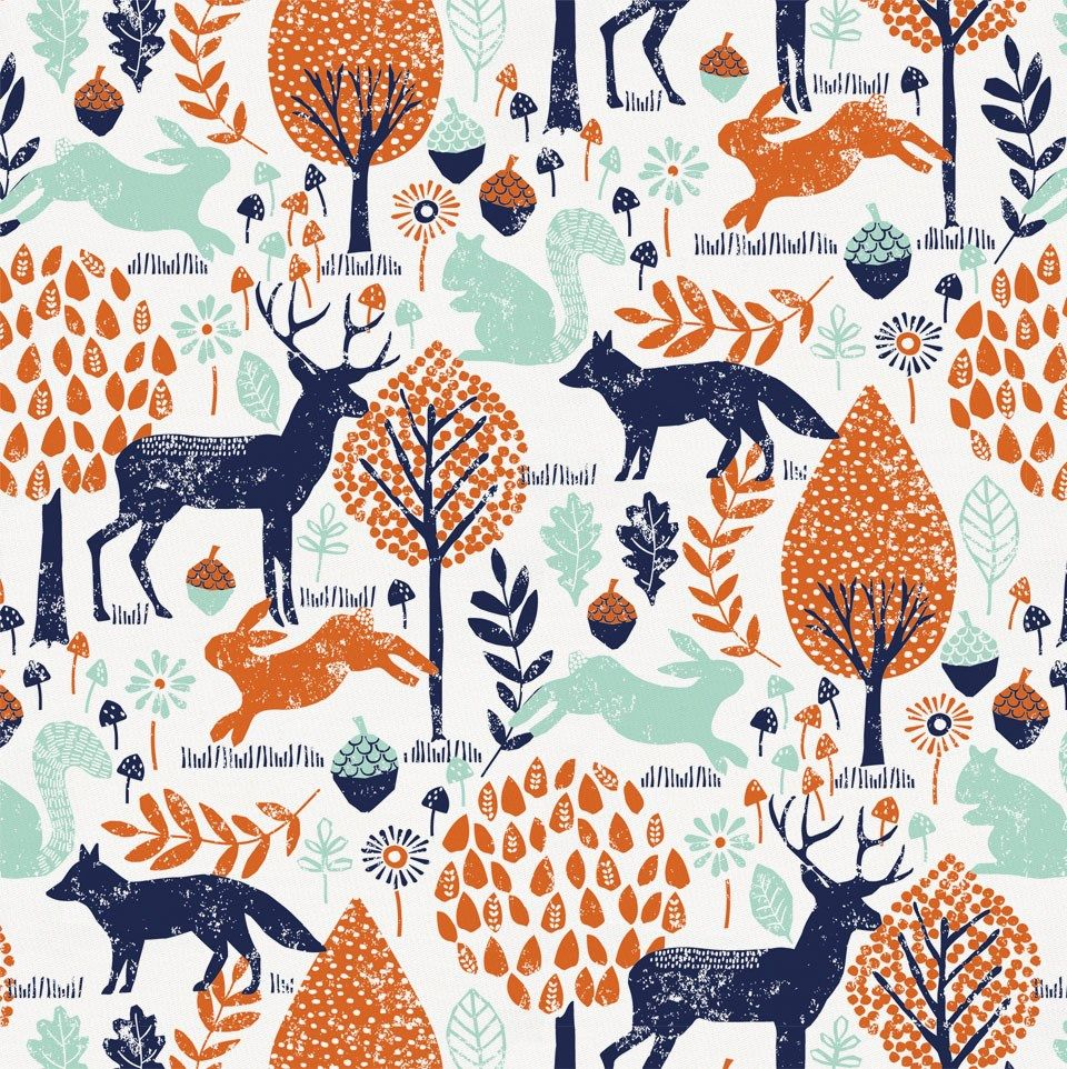 Navy And Orange Woodland Animals Fabric By The Yard