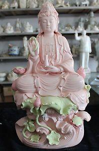 """12/"""" Chinese Dehua Colored Porcelain Lianhua Kwan-yin Guanyin Buddha Lotus Statue"""