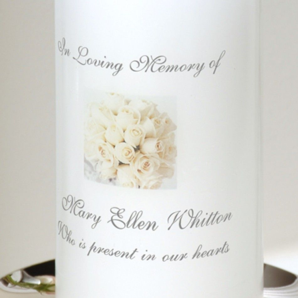 White Rose Memorial Candle & Stand [228-PC1228SW White Rose Memorial ...