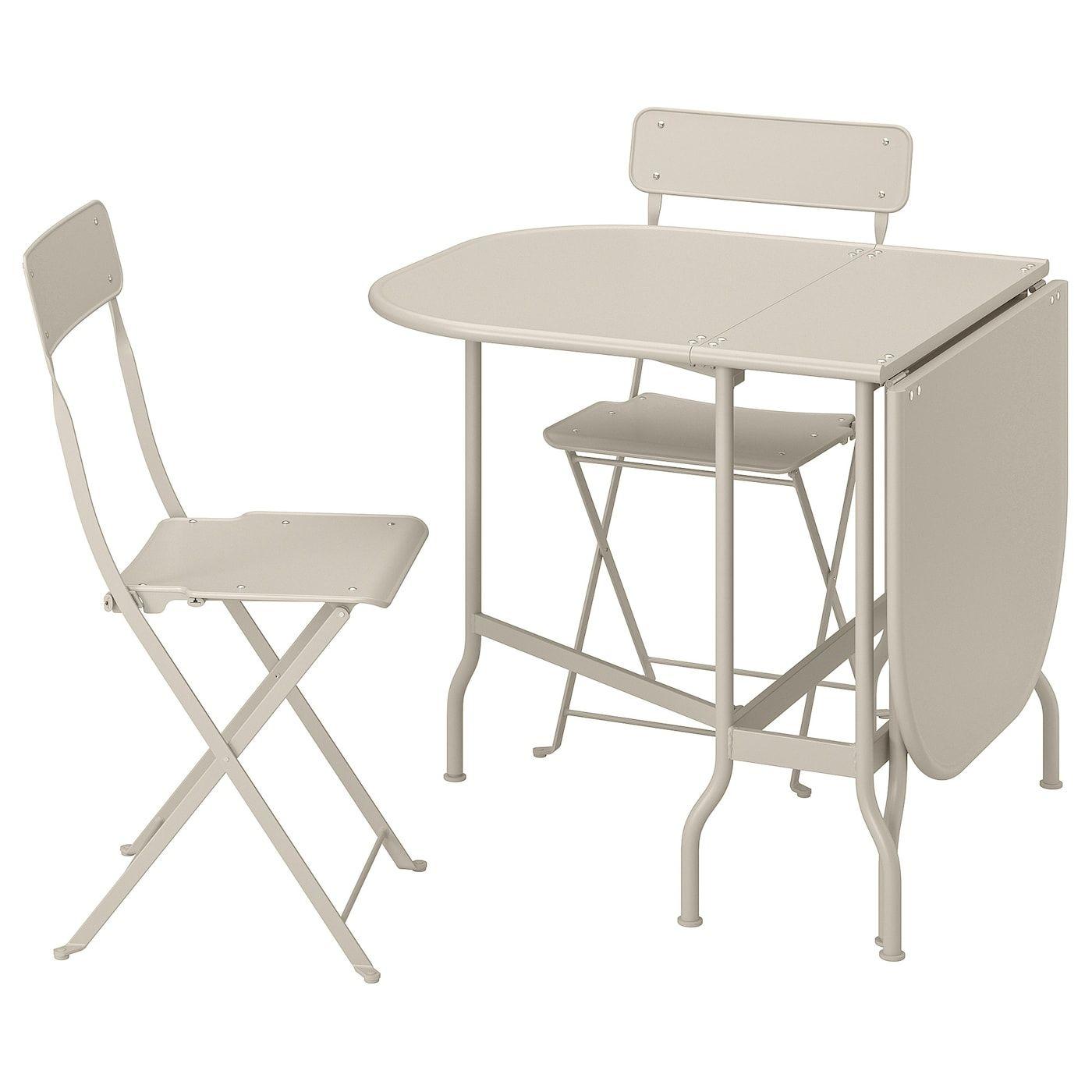 Saltholmen Tisch 2 Klappstuhle Aussen Beige Klappstuhl