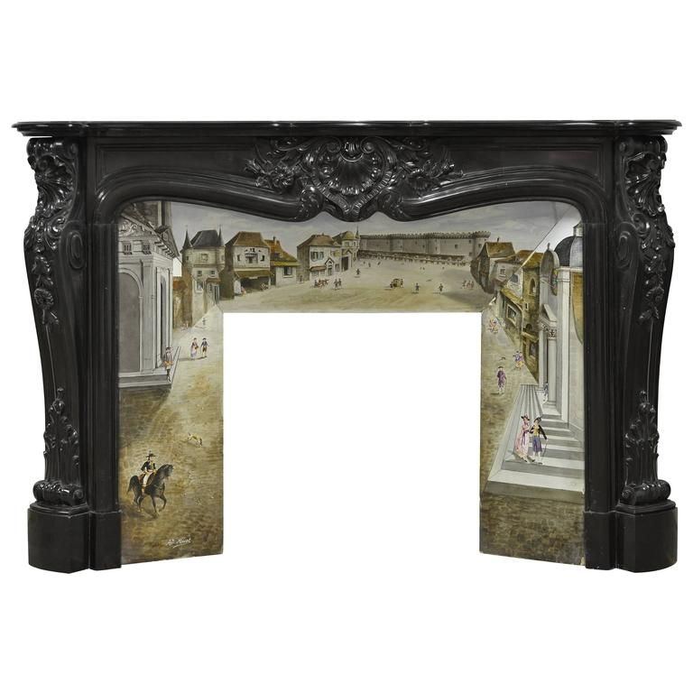 Beautiful Rare Black Marble French Louis Xv Fireplace With