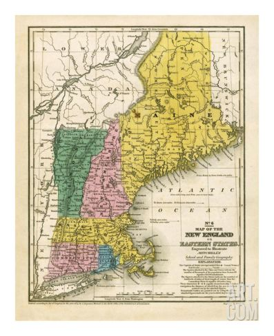 Map of the New England or Eastern States, c.1839 Art Print by Samuel Augustus Mitchell at Art.com