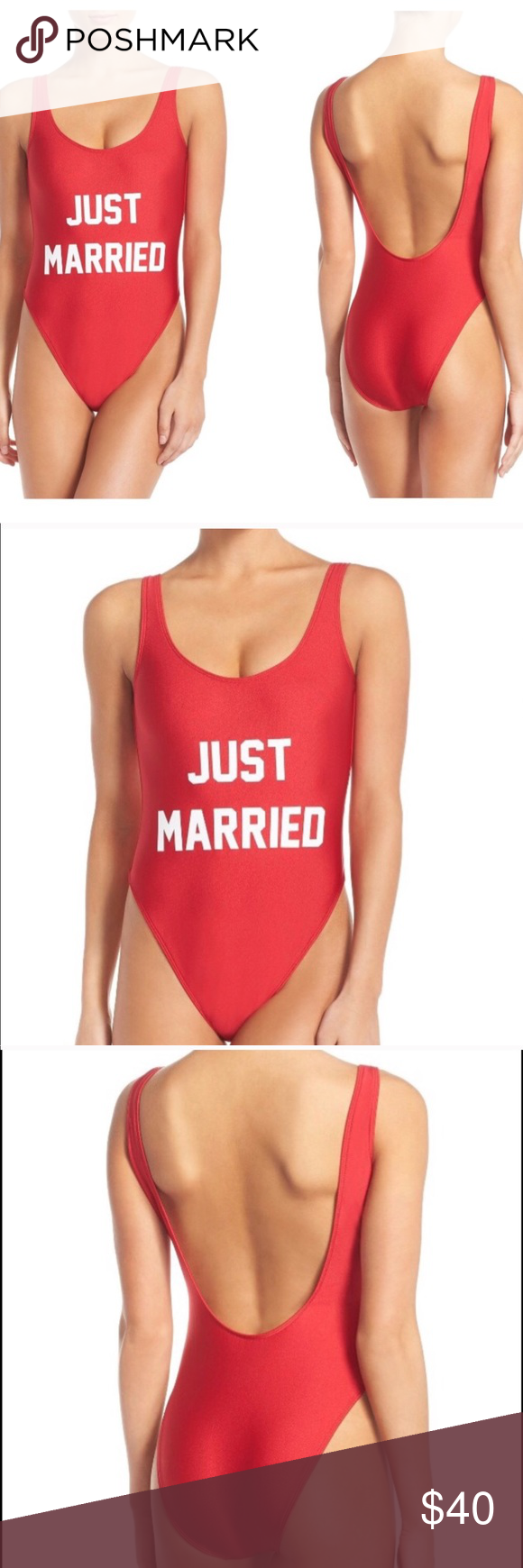 9533e3186f Private Party  Just Married  One-Piece Swimsuit Size M L 100% Authentic  Sold Out Style New w  Partial Tags....A retro-inspired swimsuit sits high  above your ...