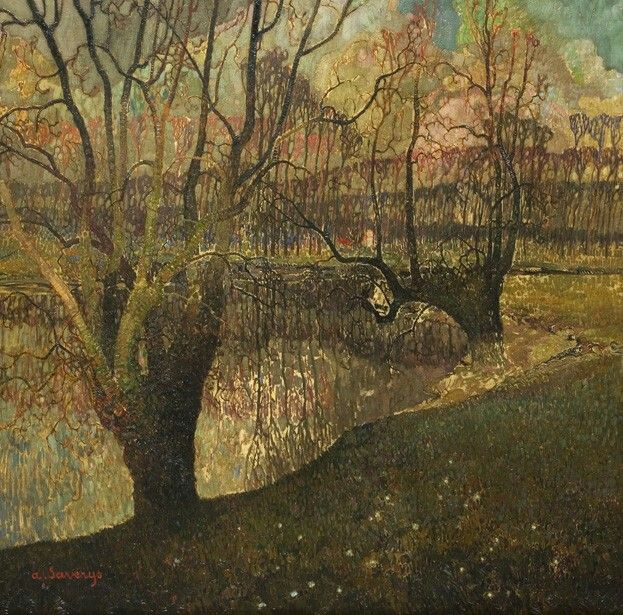 Albert Saverys(Belgian, 1886-1964)  River Lys in Winter (La Lys en hiver), 1947  Oil on canvas, 80,5 x 101 cm