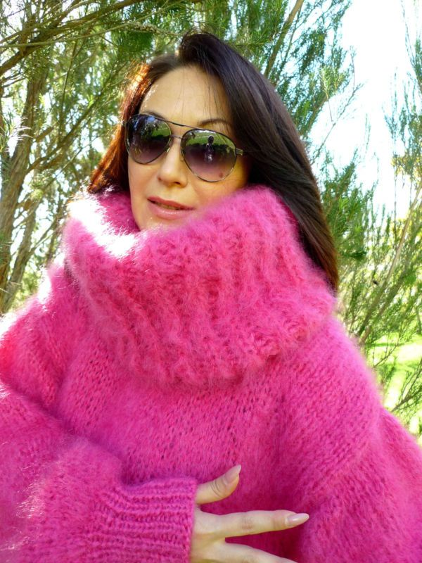 e2806797e6 Pink Longhair mohair sweater XL T-neck removable by LanaKnittings ...