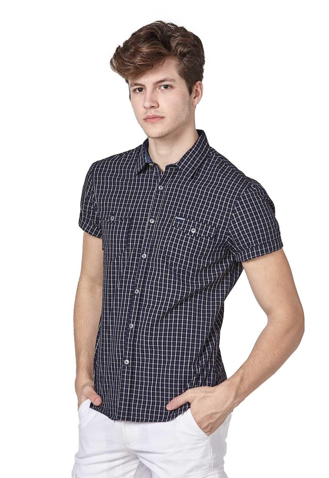 Camisa mangas curtas com estampa xadrez