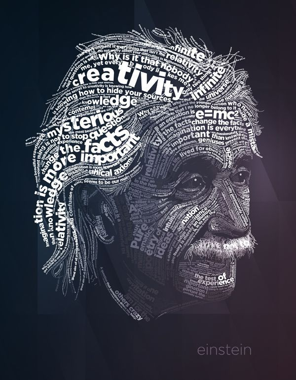 This is an extremely effective and intricate typographic design. The artist must have spent a lot of time finding words and phrases that describe Einstein and spent even more time arranging the text. I like that the artist just used black and white (and shades of grey) and the same font since the design already has so much to it. I love the detail of the design especially now such small strands of hair are words.