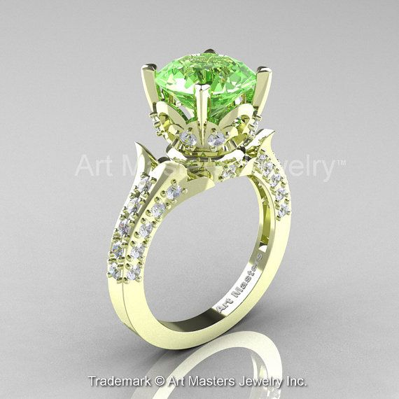 Classic French 14K Green Gold 3.0 Ct Green Topaz Diamond Solitaire Wedding  Ring R401-14KGRGDGT 532f96095162