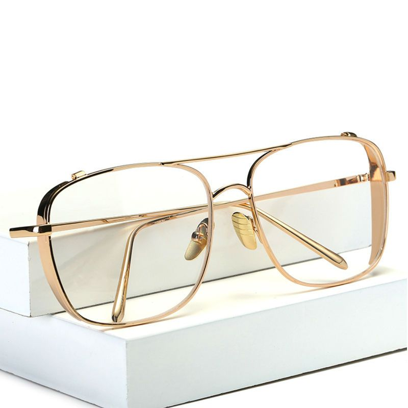 brand square gold clear eyeglasses frames men myopia glasses women transparent optical eyeglasses metal oversized eyewear - Womens Metal Eyeglass Frames