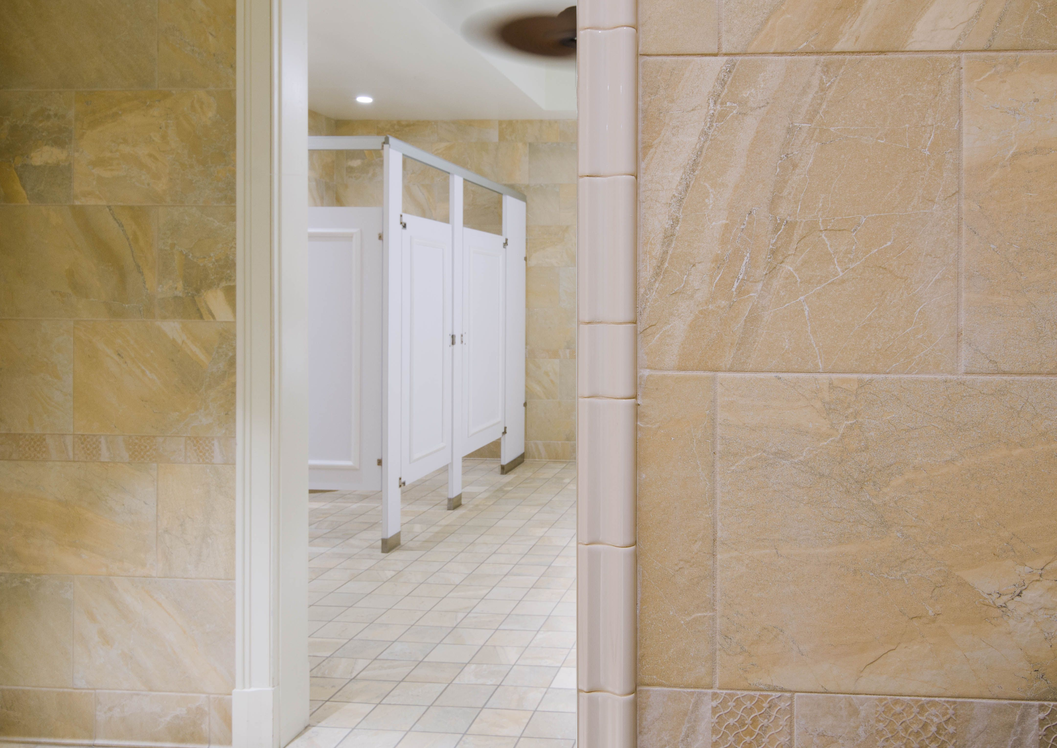 Ironwood Manufacturing laminate toilet partitions and bathroom doors with molding. Beautiful upscale public restroom & Ironwood Manufacturing laminate toilet partitions and bathroom ... pezcame.com