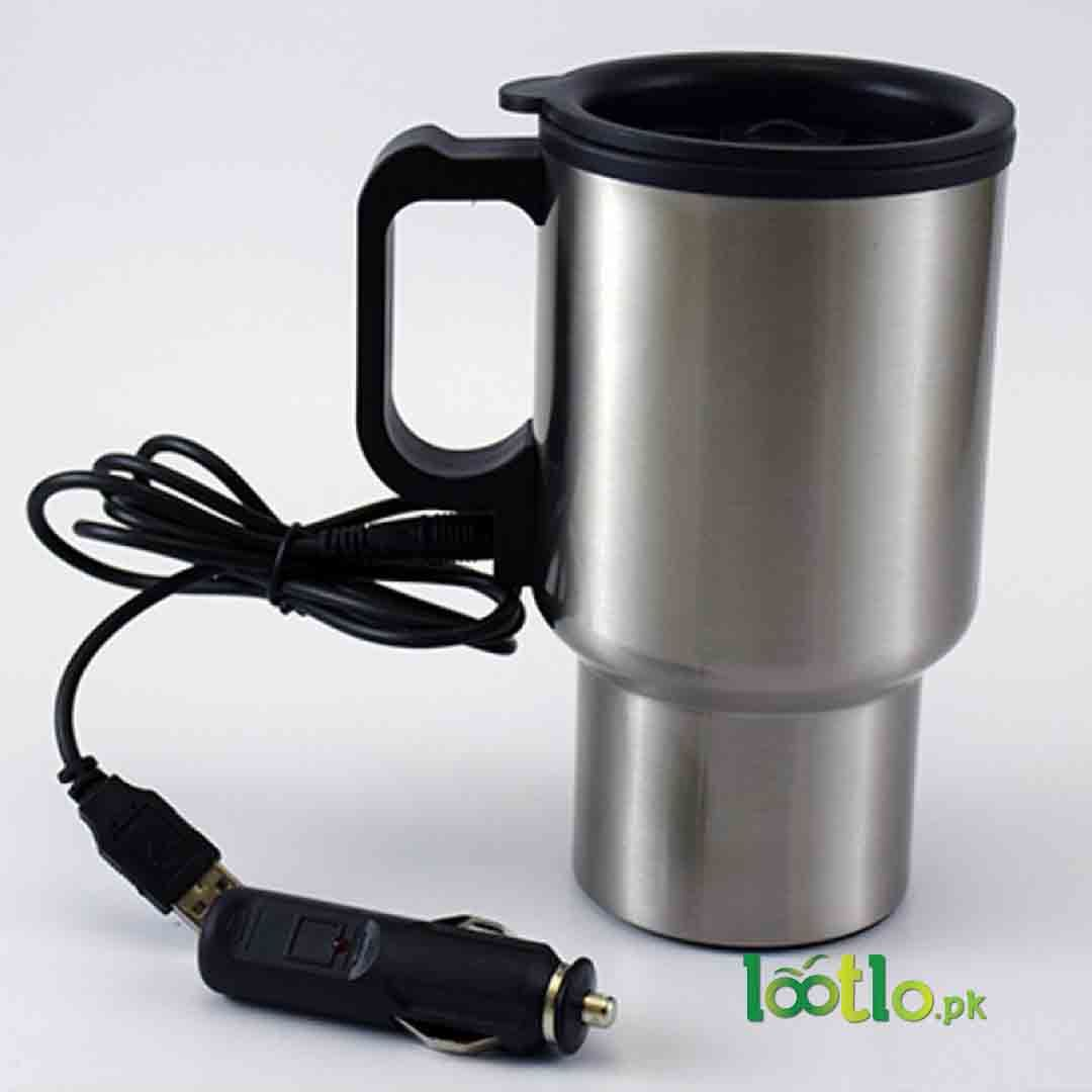 Heated stainless steel car coffee mug with charger