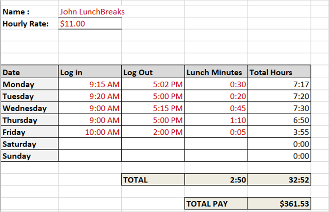 Timesheet Template Track Hours Weekly With Lunch Breaks Excel