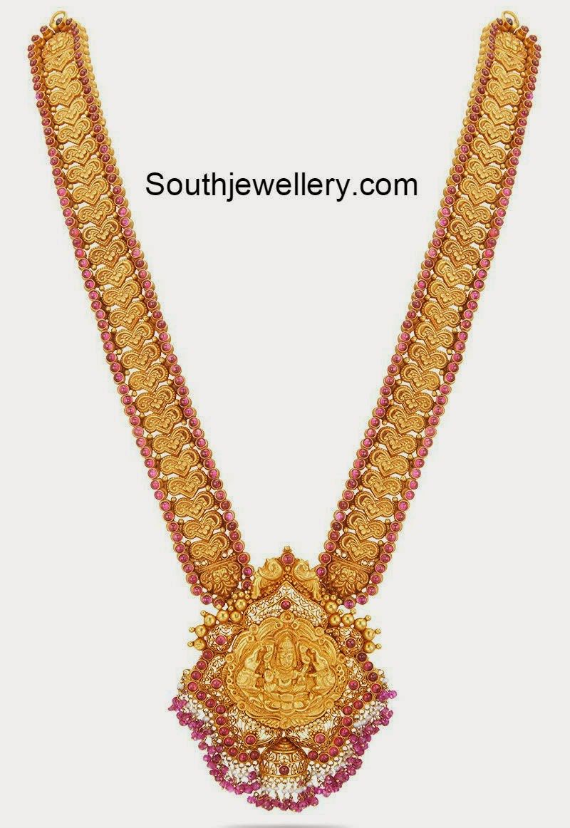 Nakshi Work Gold Long Haram In 2020 Temple Jewellery Gold