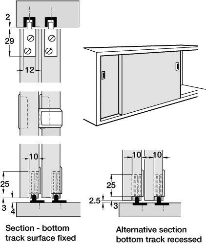 euro sliding cabinet door system   Quality track system for sliding cabinet  doors 19mm thick. - Euro Sliding Cabinet Door System Quality Track System For