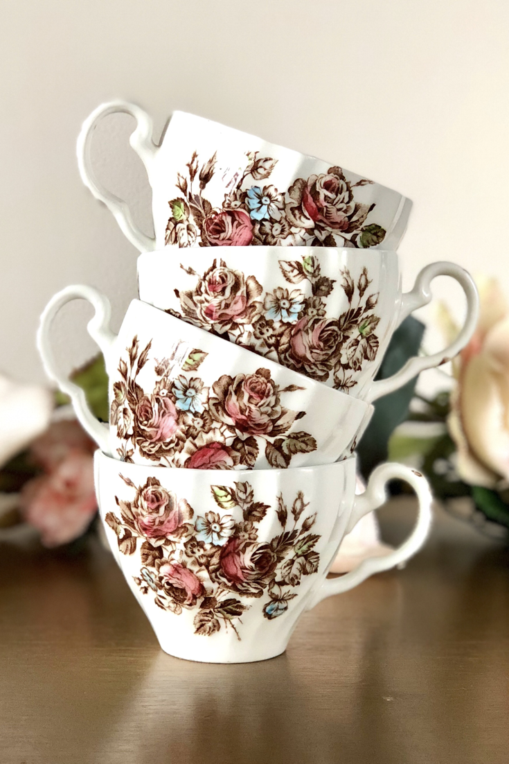This Is A Set Of Tea Cups For The Lover Of Classic English Multicolor Transferware From Johnson Broth Vintage China Patterns Classic Dinnerware China Tea Sets