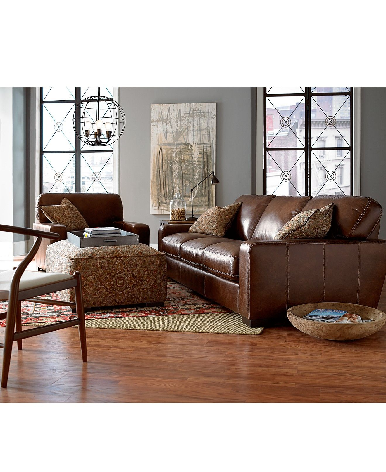 Valyn Leather Sofa   Living Room Collections   Furniture   Macyu0027s