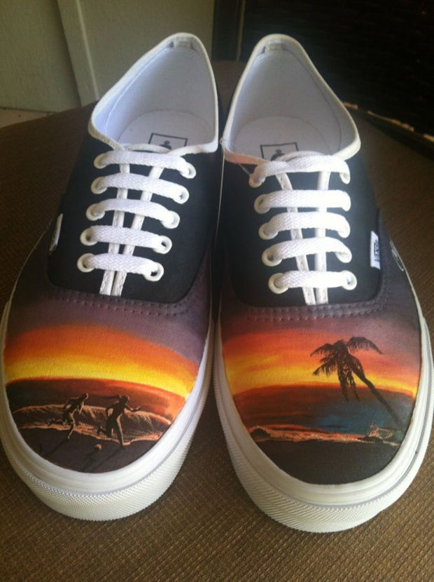 Vans Authentic With Laces Beach Theme With Images Painted