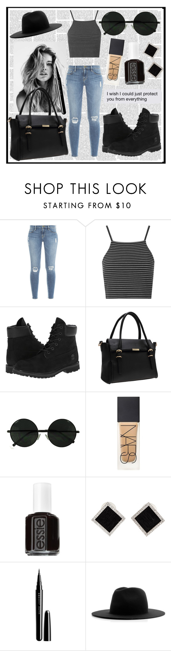 """""""I know I'm cool as s**t"""" by nsrogsy3 ❤ liked on Polyvore featuring Frame Denim, Topshop, Timberland, NARS Cosmetics, Essie, Yvel, Marc Jacobs and Études"""