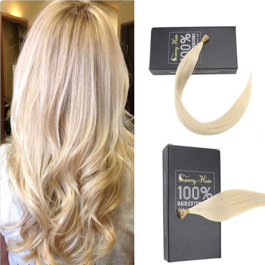 Sunny 25g Keratin I Tip Remy Human Hair Extensions Lightest Blonde