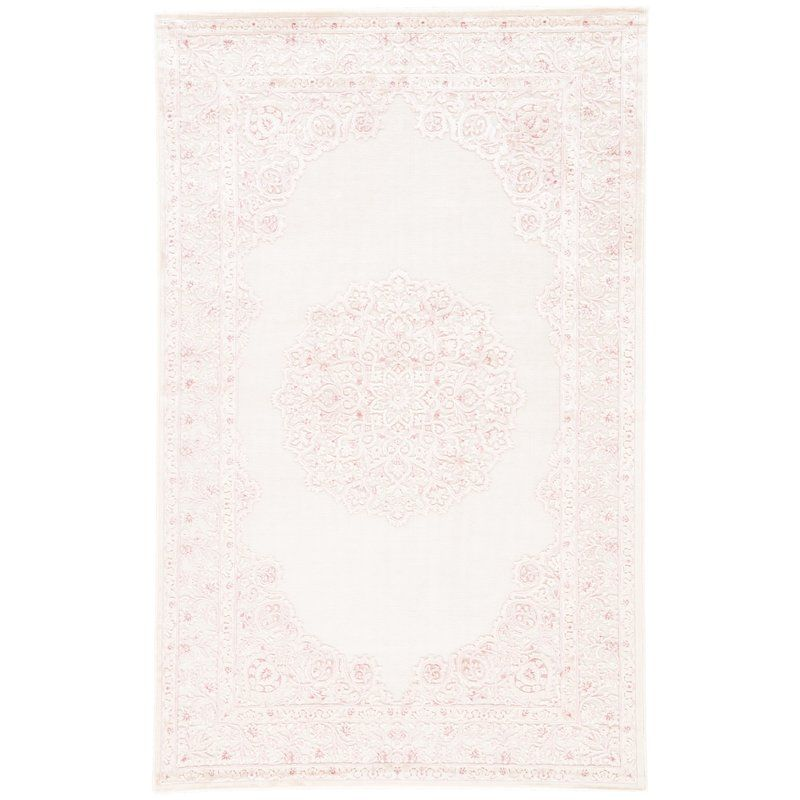 Fontanne Machine Woven Chenille Ivory Baby Pink Area Rug Pink Area Rug White Area Rug Area Rugs