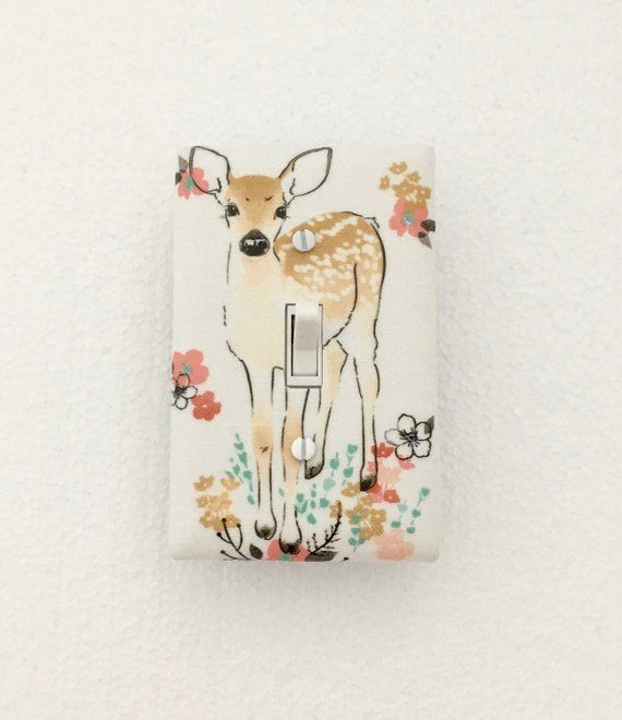 Peach Woodland Animals Tree Light Switch Cover Plate