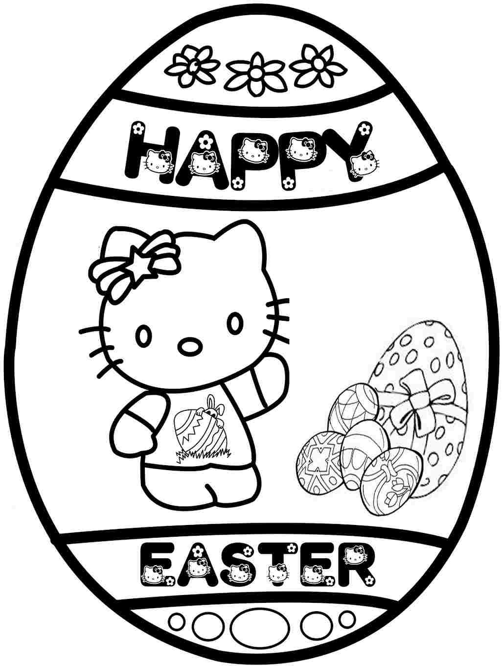 Printable Colouring Sheets Easter Hello Kitty For