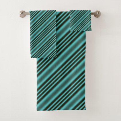 Black And Teal Modern Stripes Bath Towel Set Zazzle Com