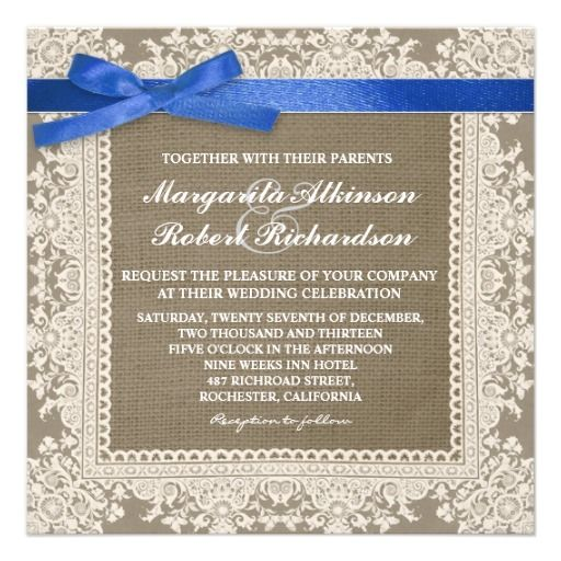 White Lace Blue Bow Burlap Wedding Invitations