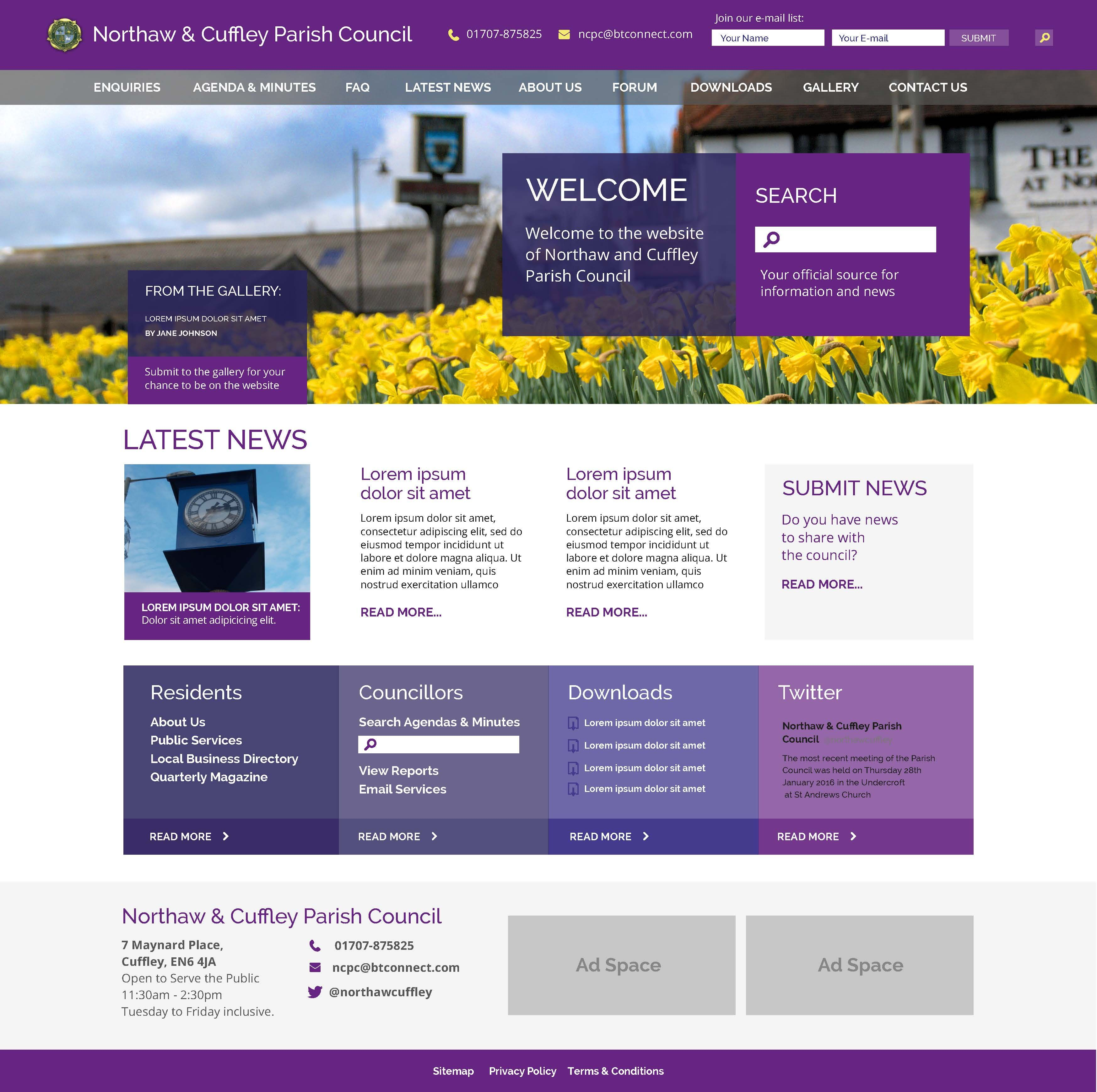 Homepage Design Concept For Cuffley And Northaw Parish Council Want To Know More About This Proj Homepage Design Website Company Web Design Agency