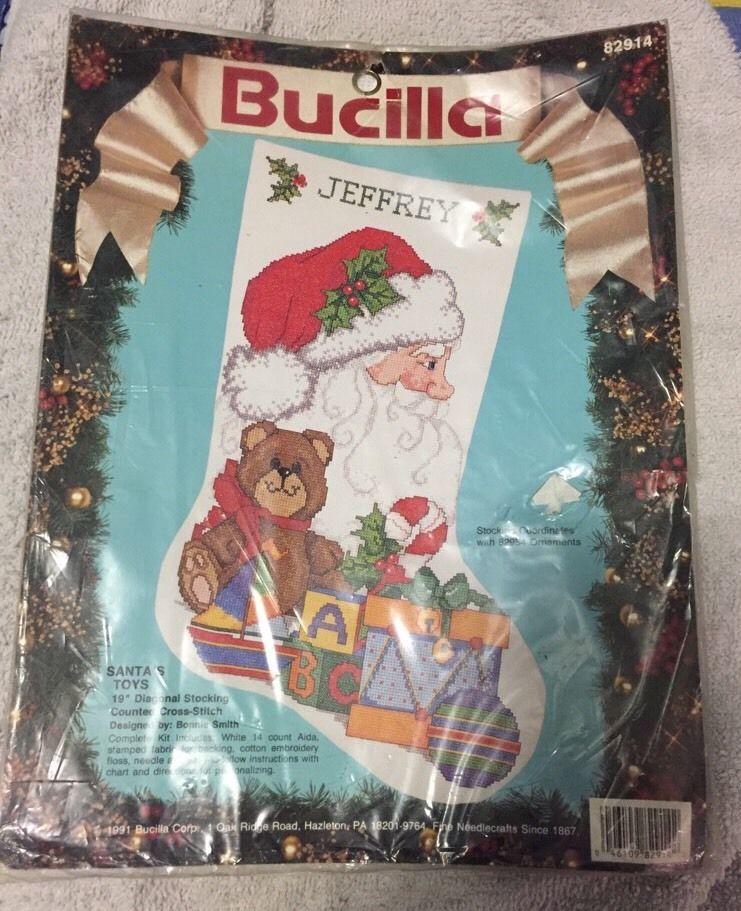 "Bucilla Counted Cross Stitch Christmas Stocking 19"" Kit Santa's Toys Customize #Bucilla #Stocking"