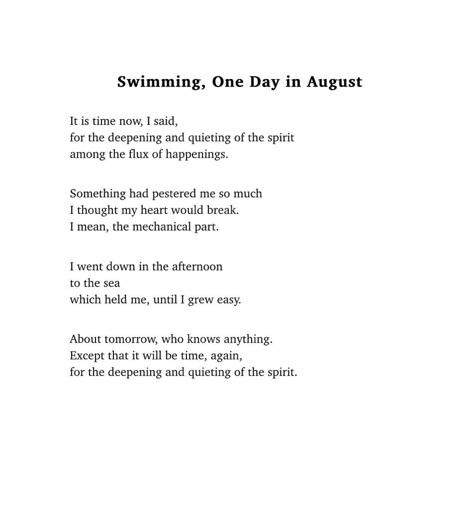 Mary Oliver. #poetry #ocean #swimming