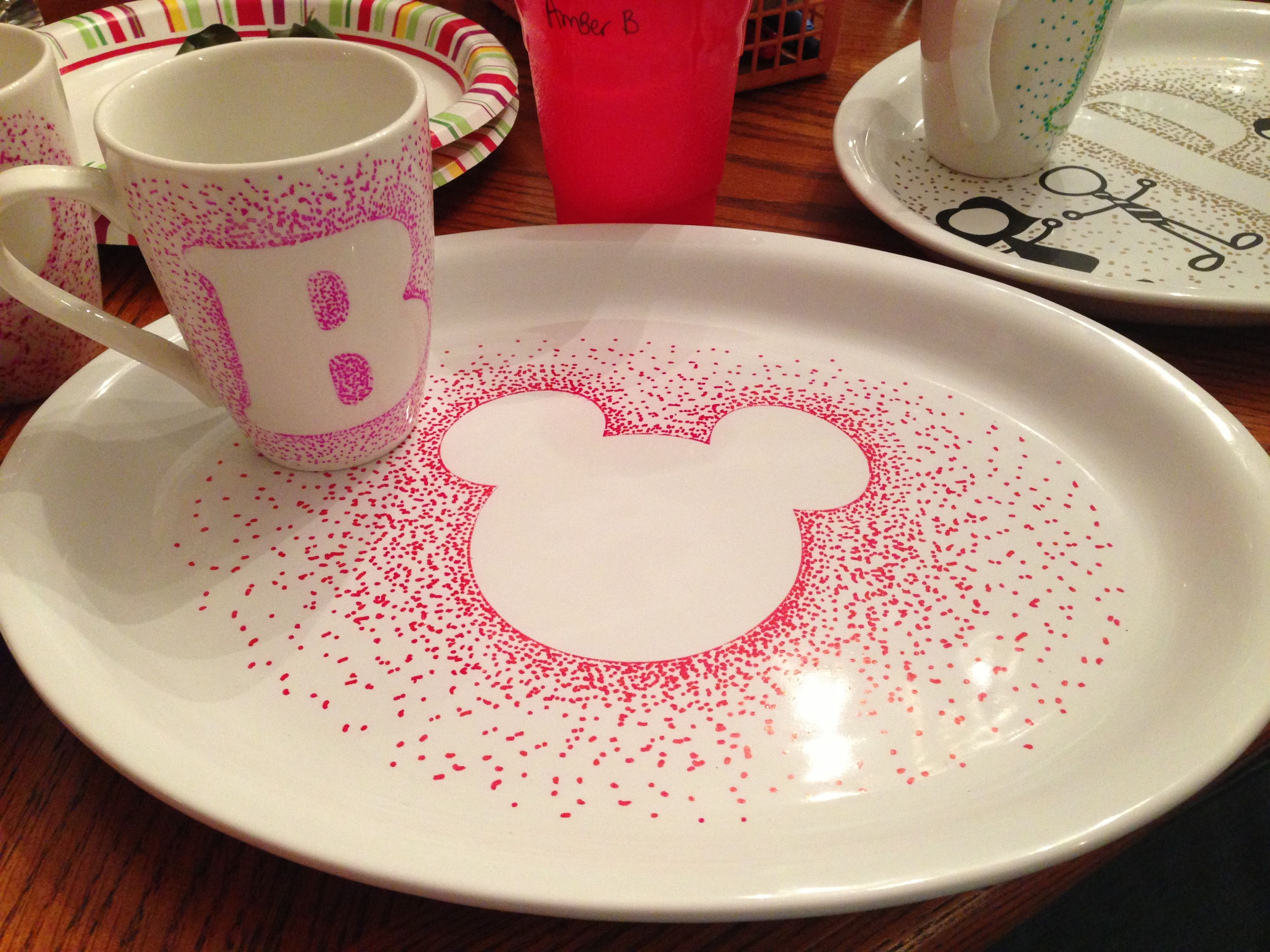stippled plate and mug-going to take mickey plate to Disney and get fab 5 to autograph as a keepsake for me to display! Used sharpies then baked in oven to seal.