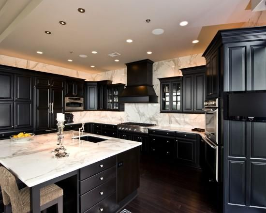 Black Kitchen Cabinets With White Marble Countertops Black Cabinets w/ White Carrera Marble Countertops | Black kitchen