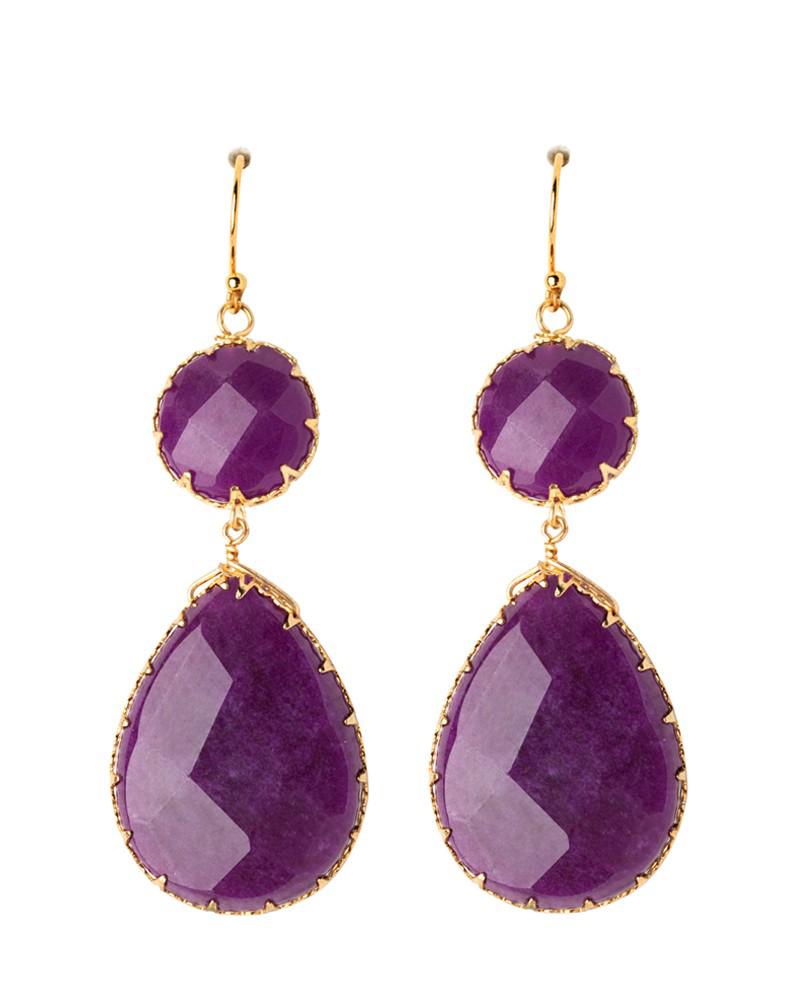 Purple Drop Earrings Fashion Jewelry Double Luxe Jewel