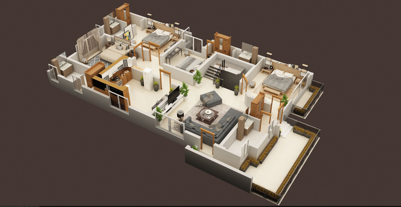 3d Floor Plan Of 1 Kanal Residence First Floor Plan Residential
