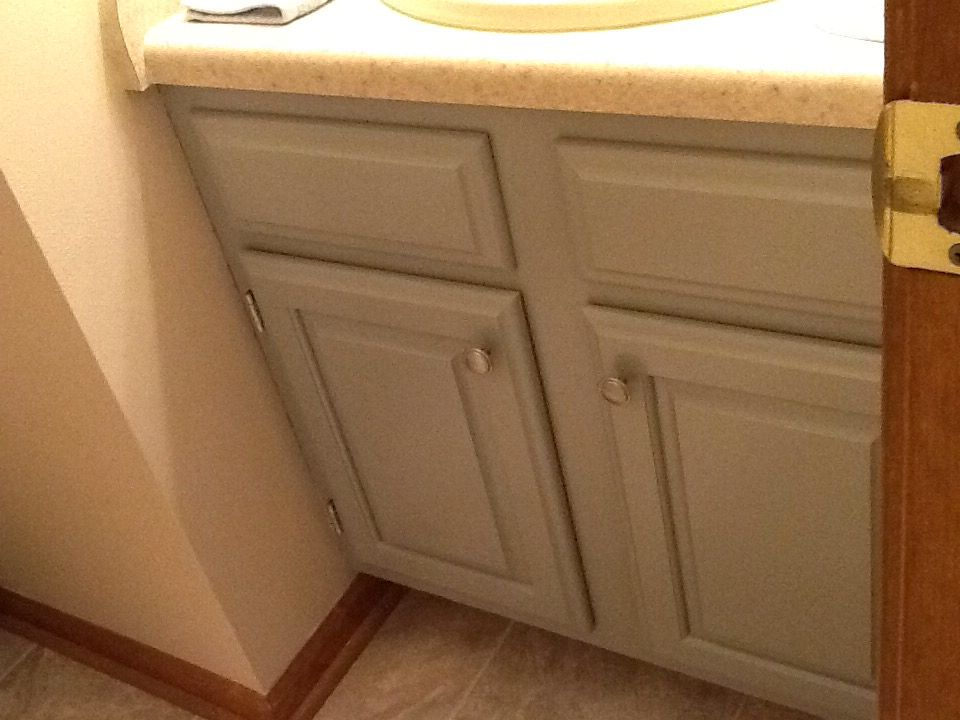 Painted Bathroom Cabinet Using Benjamin Moore Advance