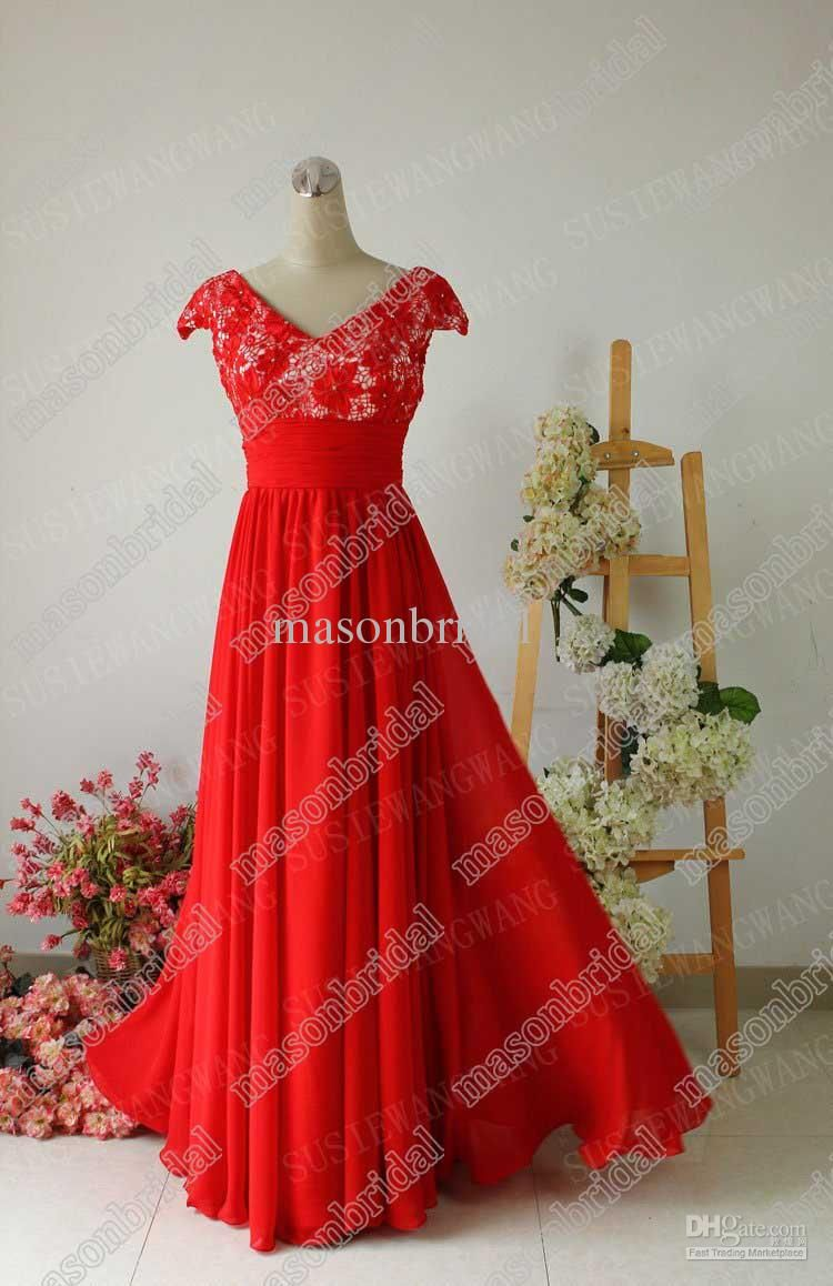 New stlye red v neck lace beaded floor length chiffon prom evening