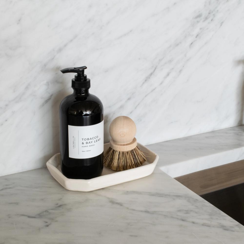 S H Beveled Soap Dish Kitchen Soap Dispenser Kitchen Countertop Decor Ceramic Tray