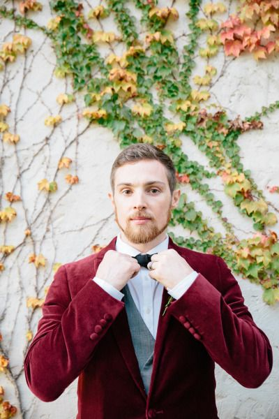 Groomsman dressed in a Marsala-colored suit || Pantone 2015: Marsala Wedding Inspiration || Style Me Pretty