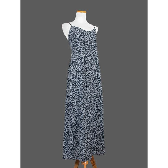 1990's Slip Dress / 90's Blue Floral Maxi Dress / Small to Medium 7