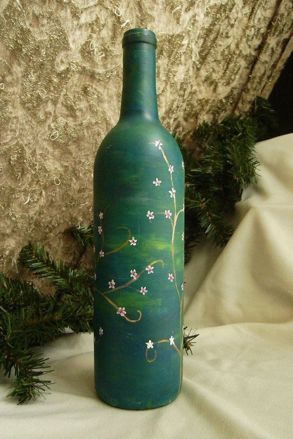 painted wine bottle acrylic painted glass bottle by possumtree